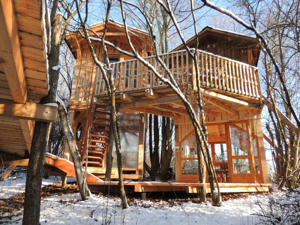 casa sull'albero inverno