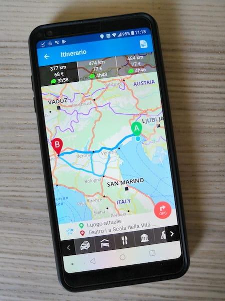 mappa app per itinerario stradale